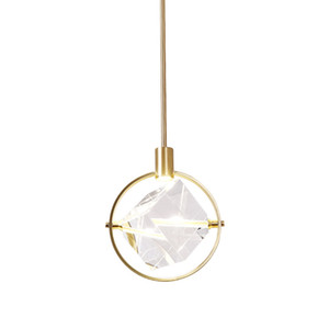 Pendant Light for Bedroom Bedside Living Room Dining Table Bar Decoration Modern LED Crystal Cube Suspension Lamp Luminaire