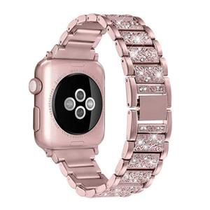 mela cinturini per orologi di lusso del diamante metallo della cinghia per Apple Watch Band 38 millimetri 40 millimetri 42 millimetri 44 millimetri in acciaio inossidabile Bracciale per iWatch 5 4 3 2 1