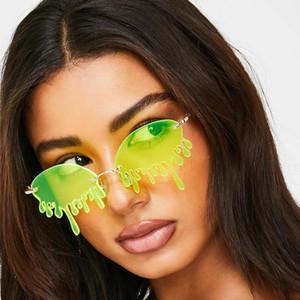 2020 di modo di marca Nuovo senza orlo degli occhiali da sole donne Teardrop Sangue vetri di Sun per la femmina Red Shades lunette de Soleil Femme UV400
