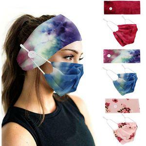 Breathable Cotton Face Mask Plus Hairband Yoga Sport Printed Button Elastic Headband Dustproof Masks Headscarf Accessories Wholesale