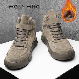 Wolf Кто супер теплые зимние мужские ботинки высокое качество Осенние снежные ботинки мужские водонепроницаемые мягкие искусственные кожаные туфли мужчины ботильоны X-022 201127