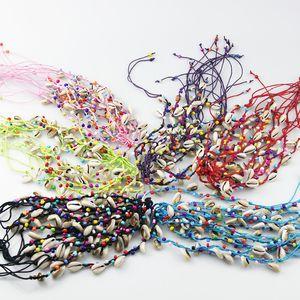 Bracelet Designer Bracelets Designer Charms for Bracelets 120Pcs lots Bohemian Colored Threads Sliced Seashell Lucky String