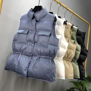 Sedutmo inverno pato para baixo mulheres colete túnica jaquetas curtas outono colete de outono casual beber jaqueta slim parkas ed1104 201103