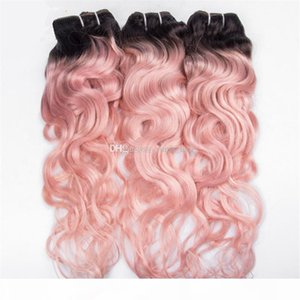 Pink ondulado ondulado peruano virgen cabello humano paquetes dos tonos 1b rosa ombre ombole tejido profundo ola de pelo rizado pelo 3pcs lot