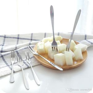Edelstahl-Nachtisch-Kuchen-Frucht-Gabel Haushalt Geschirr Dessert Gabel Spiegel-Design verdicken Hotel-Küche glatter Griff Gabeln DH1243 T03