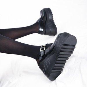 Retro Lolita Shoes Harajuku Big Head Doll Shoes Casual Creepers Punk Ladies Wedges Platform Heels Gothic Black Boots1
