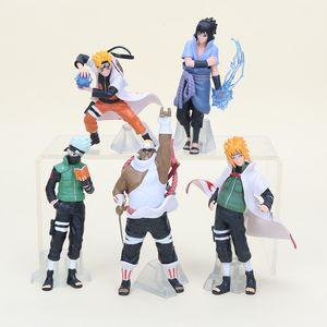 5pcs / Lot Naruto Şekil Oyuncak Kakashi Çocuklar için Minato Sasuke Killer Bee Anime Modeli Bebek