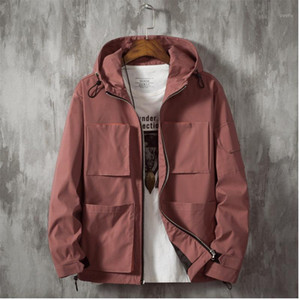 Men's jacket 2019 autumn and winter tooling jacket solid color casual loose youth personality fashion men's clothing1