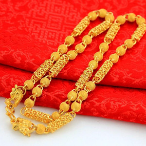 Pesado Pesado! Transporte Bead 78g 24k Dragão Real Amarelo Amarelo Sólido Dourado Colar Colar Corrente 5mm Jóias Mint-Marca Letras 100% Real Ouro
