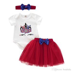 Summer Baby Girl Set American Flag Independence National Day USA 4th July Infantry Rompers Star Unicorn Print Top Mesh Short Skirt Headband