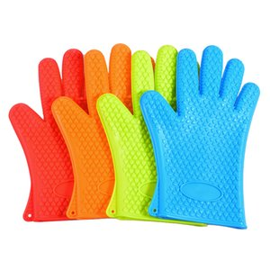 Thickening Silicone Glove Kitchen Supplies Cooking Oven Anti Scalding Heat Insulation Five Fingers Baking Gloves New Arrival 4 38xh F2