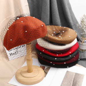 Ladies Autumn Winter Luxury Pearl veil Berets Cashmere Beret Women Warm french Hats Girls Knitted red beaded beret femme 201009