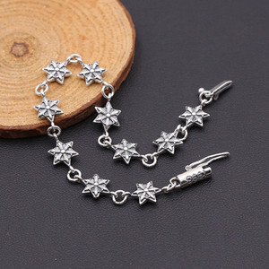 Personalized new 925 sterling silver vintage jewelry antique silver hand-made designer high quality solid sterling silver six star bracelet