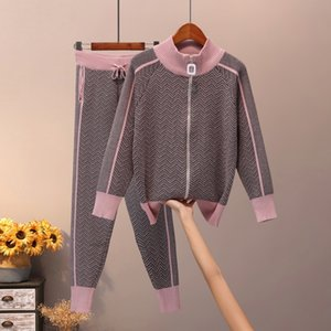 VERHELLEN Knitted Tracksuit Womans Autumn Winter Women Turtleneck Zipper knitted Striped Cardigans + Long Pants 2 Piece Set Y200110