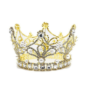 Gold Baroque Wedding Full Round Crystal Crown Vintage Large Crystal Tiara For prom Wedding Pageant Queen Hair Accessories JCI101