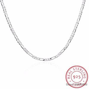 8 Taglie disponibili vera e propria catena argento 925 4MM Figaro collana Womens Mens bambini 40/45/50/60/75 centimetri monili Collares kolye