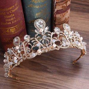 Luxus Braut Haarschmuck Metall Strass Blume Tiara Kronen Blätterblatt Noiva Diadem Hochzeit Haarschmuck Für Frauen Bh