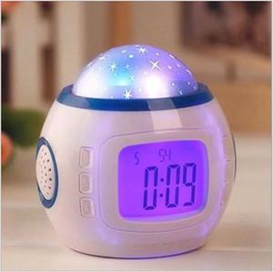 Originalidad Starry Sky Proyección Reloj de pantalla azul Pantalla azul Personalidad Digital Reloj de alarma Lámparas de música Decorar la nueva llegada 19xj F2