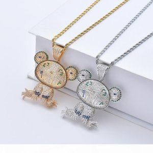 Bling bling Frog Pendant Brass Micro pave with CZ stones Necklace Jewelry HIP HOP CN080