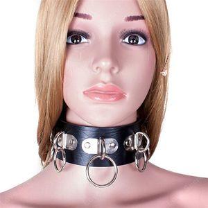 Продукты для Leather Collar работорговли SM Black Sex Neck для кольца Женщины взрослых Пара мужчин игры игрушки секс PU заклепками взрослых игры Snllg