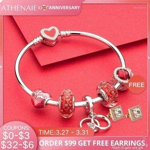 Athenaie autentico 925 argento sterling appassionato amante Charms Braccialetto Braccialetto per le donne Fascino rosso perlina Jewerly1