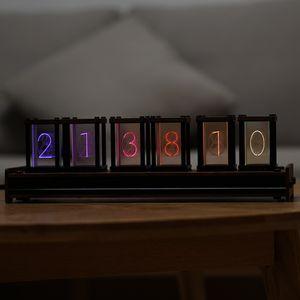 Elekstube actualizó el reloj de alarma digital 6 bit RGB LED resplandor reloj electrónico reloj retro Nixie TUBO Hora de visualización PIR Control de movimiento 5V LJ201204