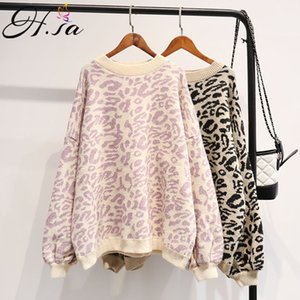 HSA Autumn Winter Women Leopard Pullover and Sweaters Round Neck Oversize Sweater Jumpers Casual Leopard Korean Pull Femme 200929