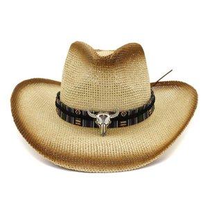 Plain mujeres de los hombres de paja de Panamá Jazz del sombrero de ala con el toro de la cinta decoración de verano al aire libre UV de protección solar vaquero sombrero de papel