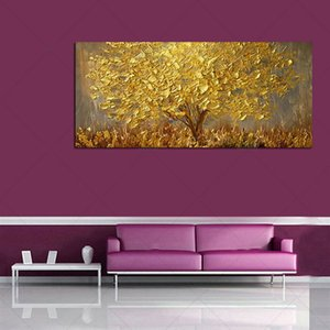 Золото дерева Современной Аннотация стены Декор Домашнего украшение расписанной HD картины Печать холст, масло Wall Art Pictures 201107