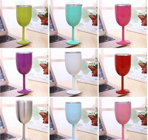 10oz goblet stem wine egg cups wine glasses vacuum insulated mug stainless steel with lid egg shape mug cup 9 color