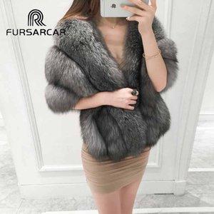 Fursarcar mujeres la moda de Nueva Fox Estilo Femenino Cabo invierno caliente grueso de lujo Piel real Mantón de Gaza