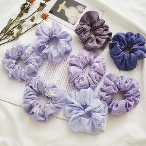 2021 New Purple Chrysanthemum Hair Scrunchies Elastic Hair Bands Ties Rope Bands Ponytail Accessories 8Style