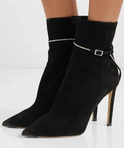 Elegante Itália Inverno Marca Leille Botim luxo Sapato de bico fino Suede couro das mulheres botas de Cristal Cadeia Lady Sapatinho de vestido de festa EU35-43