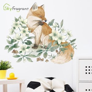 Nordic ins wall sticker simple hand-painted flower living room bedroom stickers self-adhesive home decor room decoration