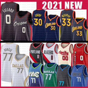 Luka Stephen 77 Doncic 30 Curry Damian 0 Lillard Basketball Jersey 33 Wiseman Carmelo 00 Anthony Mens 2021 New Jerseys