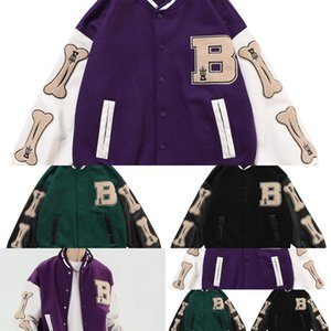 Aolamegs Furry Bone Letter Patch Color Block Patchwork 3 color Optional Harajuku College Style Bomber Jacket Men Baseball Coats Q1221