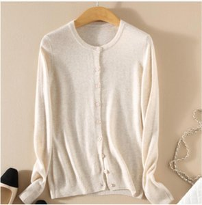2020 Thin Black O neck Button Cardigans Cashmere Knitted Wool Female Cardigan Autumn Women Long Sleeve Slim Oversize Sweater