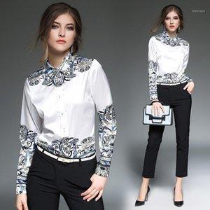 2020 primavera verano caída pista vendimia barroco collar de impresión de rayas de manga larga para mujer fiesta de mujeres casual top camisas blusa1