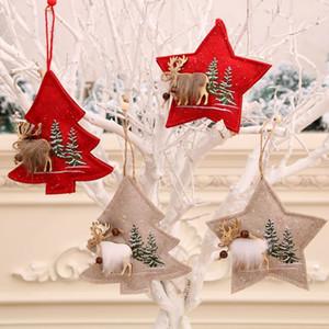 pano pequeno pingente de Natal decoração alces pingente de presente bordados infantil HOT de Natal árvore Pendant T500361