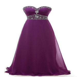 2021 Purple Bridesmaid Dresses Backless Sexy Sweetheart Beach Long Chiffon Bridesmaids Gowns Plus Size With Beaded