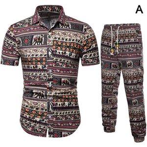 Chándal de los hombres Tops ly Hombres con pantalones traje de lino Mangas cortas Ropa casual transpirable para el verano DOD8861