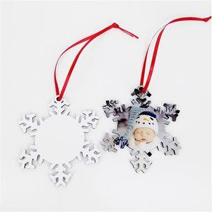 La sublimación de madera en blanco del copo de nieve de Navidad Adornos de bricolaje de madera copos de nieve blancos llanos de lados dobles que estampa la tarjeta del árbol de Navidad Pendents OOA9709
