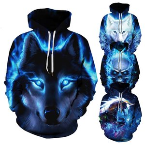 Printed Mens Pullover Sweatshirt New Arrivals Men women Hip Animal Hoodies 3d Wolf Hop Hoodie Thin Hooded 2019 Tops Vetements Anebx