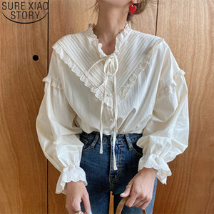 2020 New Women Hollow Out Vintage Casual Elegant Tops Women Shirts Solid Long Sleeve Korean Style Bow Loose Blouses Blusas 9580 A1105