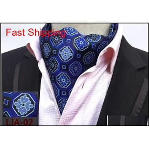 Mens Cravat Lazos Vintage Polka Dot Floral Boda Formal Cravat Ascot Scrunch Self British Style Gentleman Polye Qylwij Nana_Shop