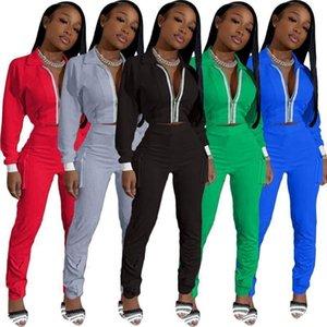 Delle donne 2 pezzi tuta Set maniche lunghe con pannelli del rivestimento laterale tasca dei pantaloni rifornisce signore casuali cardigan con cerniera Tute pantaloni lunghi di sport