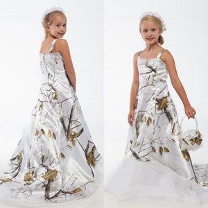Белое настоящее дерево камуфляж кружево цветок девушка платья на заказ малыш дети формальный свадебный носить камуфляж сатин рождения