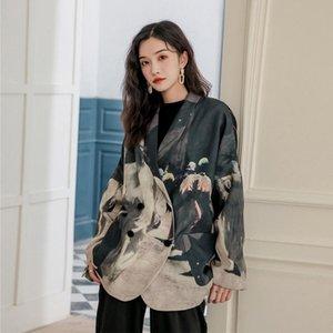 2021 дизайнерские женские пиджаки и куртки Распечатать пэчворк плюс размер пиджака свободно высокое качество BY268