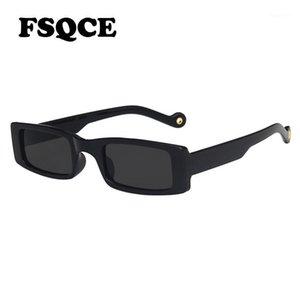 FSQCE 2021 Moda Vintage Square Gafas de sol Mujeres Retro Diseñador de marca Pequeño rectángulo Gafas de sol Mujer UV4001