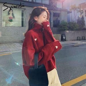 syiwidii 여성 스웨터 풀오버 자수 마음 터틀넥은 201,016 한국어 위에 새로운 배트 윙 슬리브 겨울 의류 여성 스웨터 니트